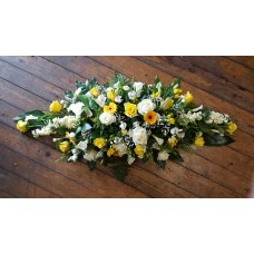 Yellow and White Double Ended Coffin Spray