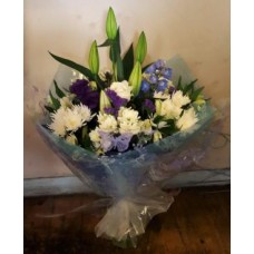 White Blue and Purple Aqua Handtied