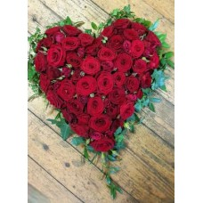 Heart Tribute with Red Roses