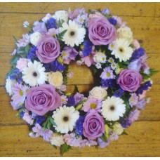 Purple Pink and White Wreath