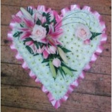Heart Tribute With Pink Spray