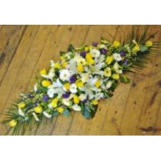 Yellow White and Purple Coffin Spray