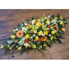 Yellow and Orange Double Ended Coffin Spray