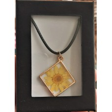 Necklace - Yellow Daisy Square